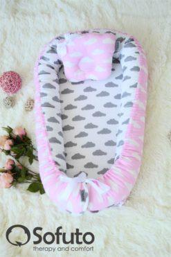 Newborn baby nest co-sleeper Sofuto Babynest Rose ashes