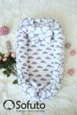 Newborn baby nest co-sleeper Sofuto Babynest Clouds silver