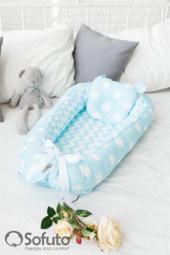 Newborn baby nest co-sleeper Sofuto Babynest Stars and waves aqua