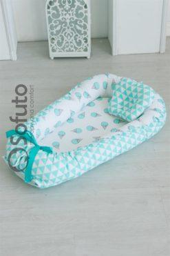 Newborn baby nest co-sleeper Sofuto Babynest Mint gelato