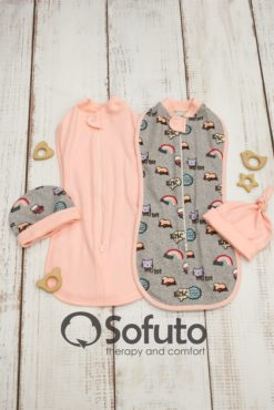 Warmed Swaddle wraps set Sofuto Swaddler Space cats