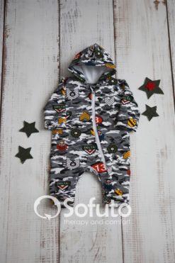 Newborn baby jumpsuit with zipper Sofuto baby Military