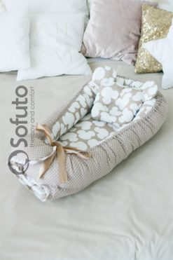 Newborn baby nest co-sleeper Sofuto Babynest Сoffee dots