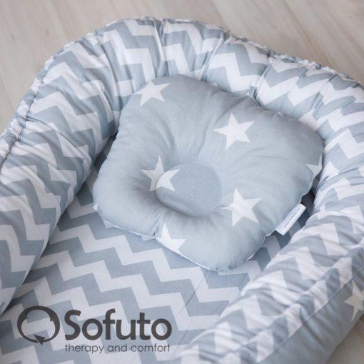 Newborn baby nest co-sleeper Sofuto Babynest Stars and waves silver