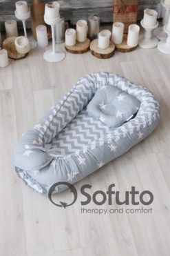 Newborn baby nest co-sleeper Sofuto Babynest Stars and waves silver