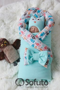 Newborn baby spring take home outfit clothing set (7 pcs) Sofuto baby Owl mint