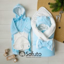 Blue simple Winter Newborn baby boy coming home outfit