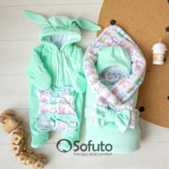 Bunny mint Cold winter Newborn baby coming home outfit
