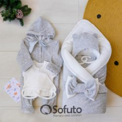 Light grey Winter Newborn unisex baby coming home outfit